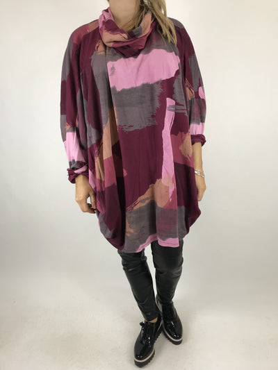 Lagenlook Cowl Neck Paint Splash Print Top in Wine. code 9810.
