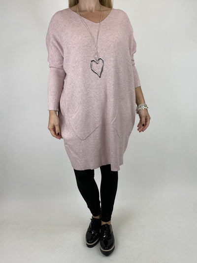 Lagenlook Diana V-neck Angled Pocket Jumper in Winter Pink. code 922.