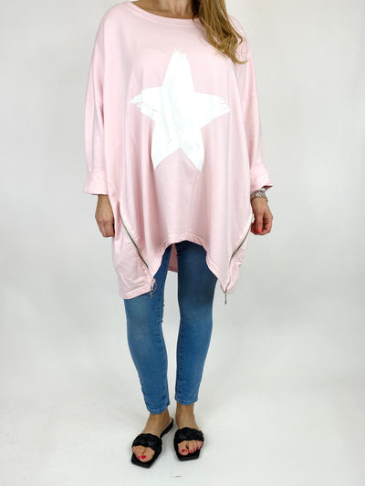 Lagenlook Brightest Star Print Sweatshirt Top in Pale Pink. code 10469.