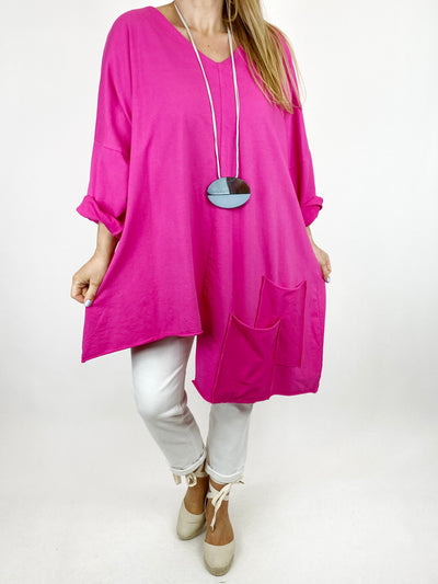 Lagenlook Jamie V- Neck Double Pocket Top in Fuchsia. 91225.