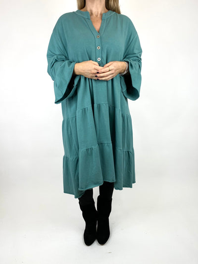 Lagenlook Olivia Frill V- Neck Top in Sage. code 10538.