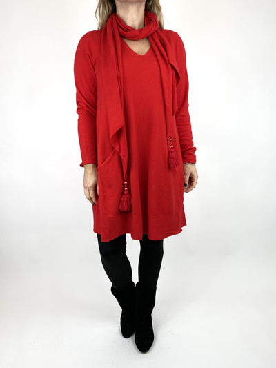 Lagenlook Isabel Scarf Jumper in Red. code 2598.