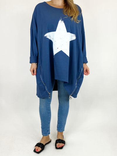 Lagenlook Brightest Star Print Sweatshirt Top in Denim. code 10469.
