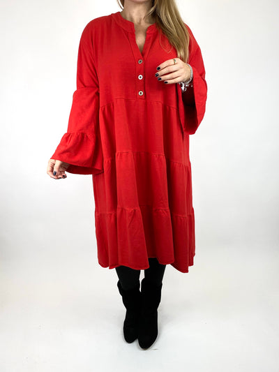 Lagenlook Olivia Frill V- Neck Top in Red. code 10538.