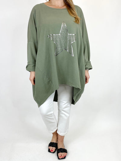 Lagenlook Dot Star sweatshirt in Khaki. code 50303.