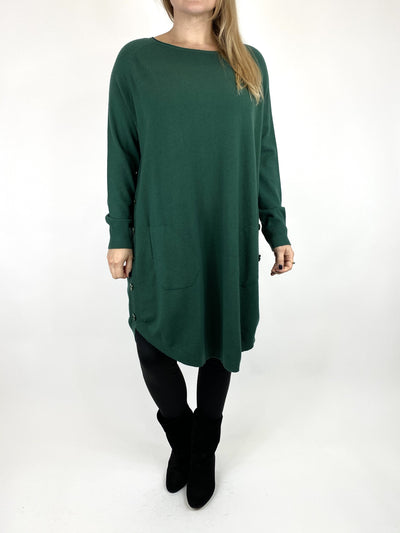Lagenlook Amelie Button Side Jumper in Racing Green. code 2560.