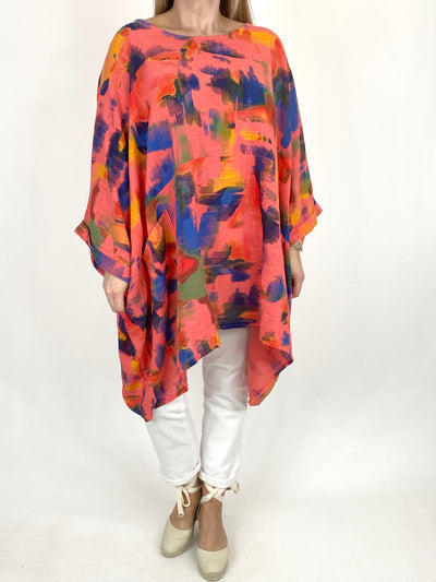 Lagenlook Artist Patterned Summer Top in Coral. code 10077.