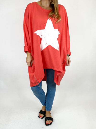 Lagenlook Brightest Star Print Sweatshirt Top in Coral. code 10469.