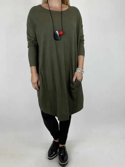 Lagenlook Amelie Button Side Jumper in Khaki. code 2560.
