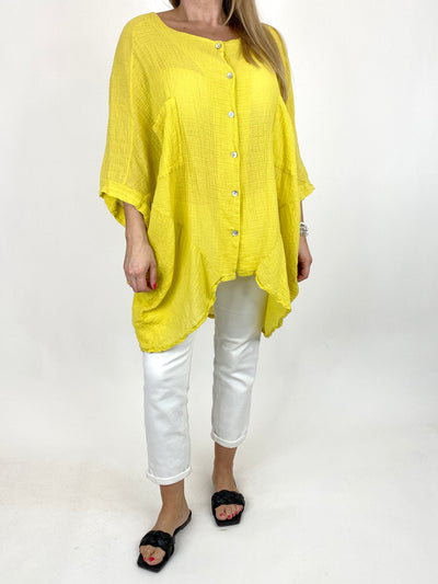 Lagenlook Audrey Cotton Button top in Yellow . code 90013.