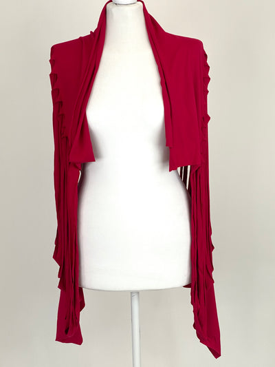 Lagenlook Ladder Scarf Wrap in Red. code bc2.