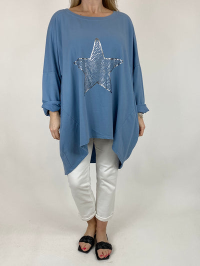 Lagenlook Dot Star sweatshirt in Denim. code 50303.