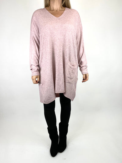 Lagenlook Jute Pocket V-neck Jumper in Pale Pink. code 2712.