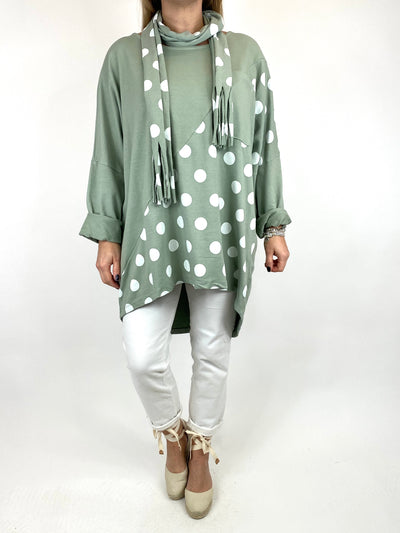 Lagenlook Molly Dot Print Scarf Top in In Sage. code 10306.
