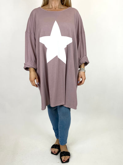 Lagenlook Solo Star Print Sweatshirt Top Tunic in Heather pink. Code 9482.