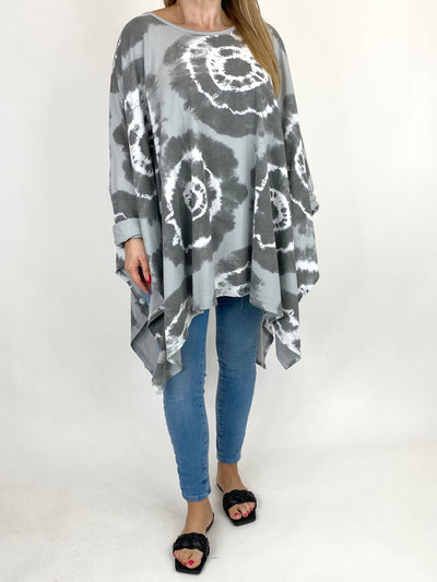 Lagenlook Margot Tie-dye Top in Pale Grey. code 8407.