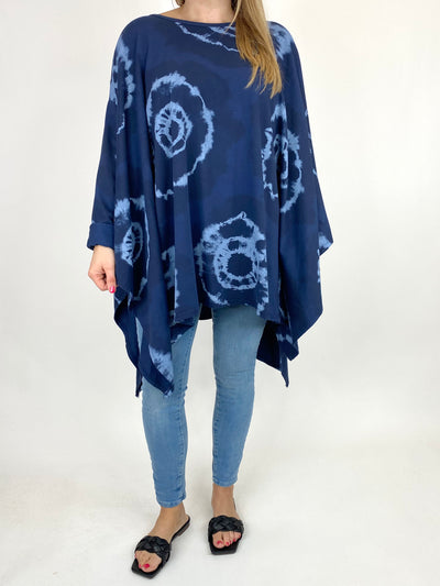 Lagenlook Margot Tie-dye Top in Navy. code 8407.