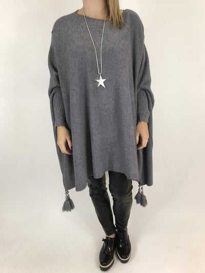 Lagenlook Ella Tassel Jumper in Grey. code 2700.