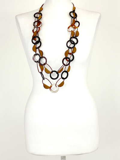 Lagenlook Statement Unity Circle Long Necklace in Tan .Code BC-131.