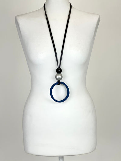Lagenlook Blue Large Disc Long Necklace. code 1031A.