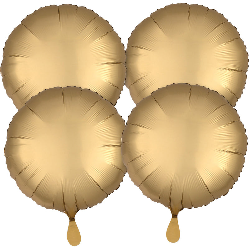 "4 Pack ""Satin Luxe Gold Satin "" X 4 Foil Balloon Round, S15, 43cm"