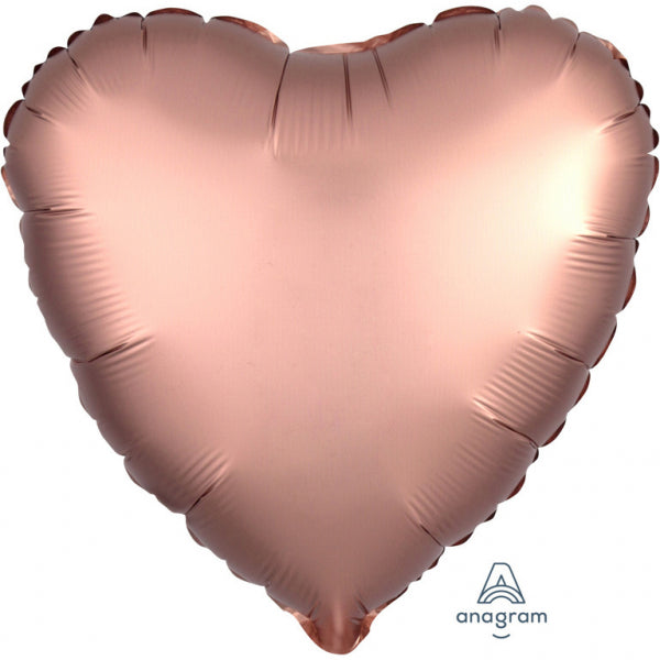 """Satin Luxe Rose Copper"" Foil Balloon Heart, S15, 43cm"