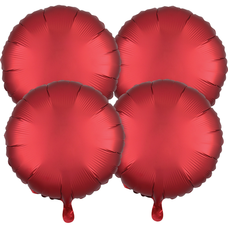 "4 Pack "" Satin Luxe Circle Sangria X 4 Foil Balloon Round, S15, 43cm"