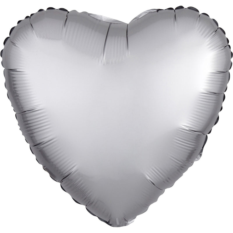 """Satin Luxe Platinum"" Foil Balloon Heart, S15, packed, 43cm"
