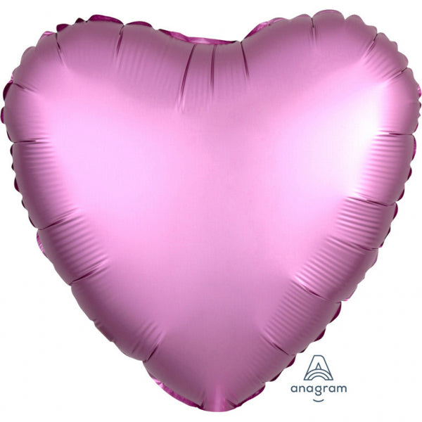 """Satin Luxe Flamingo"" Foil Balloon Heart, S15, packed, 43cm"