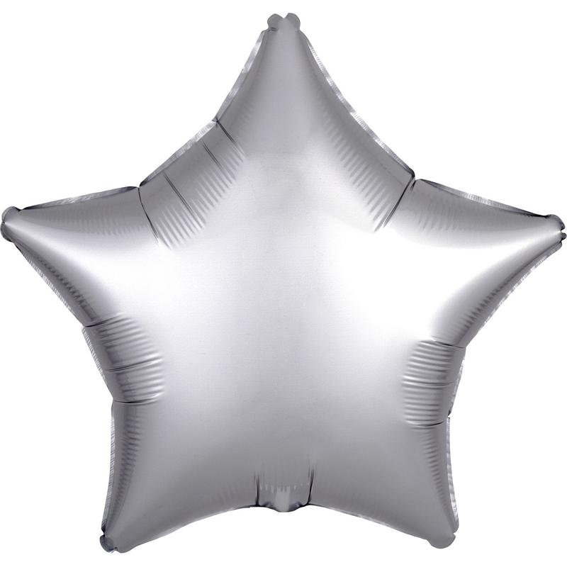 """Satin Luxe Platinum"" Foil Balloon Star, S15, packed, 43cm"