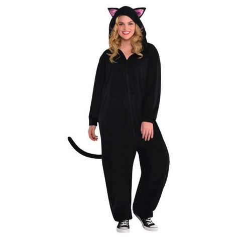 Black Cat Zipster Costume for Adults