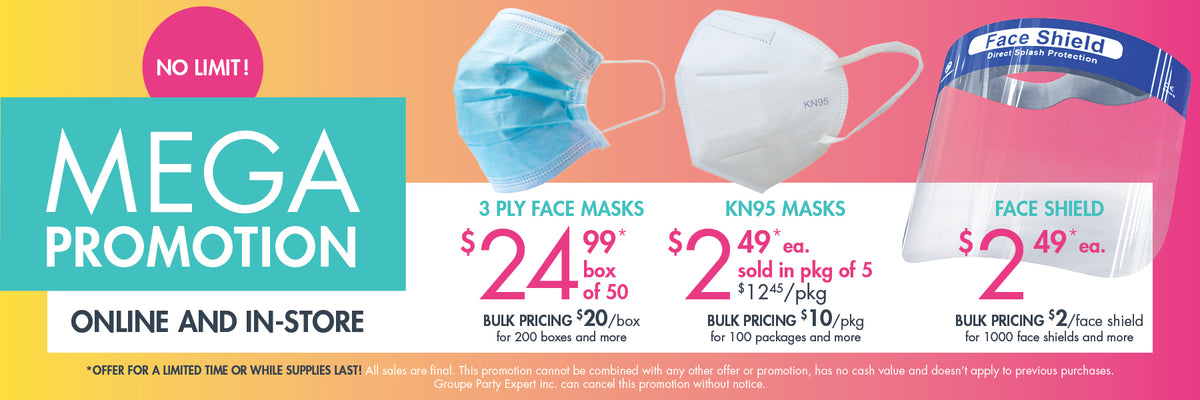 Mega promotion on disposable face mask, kn95 and face shields