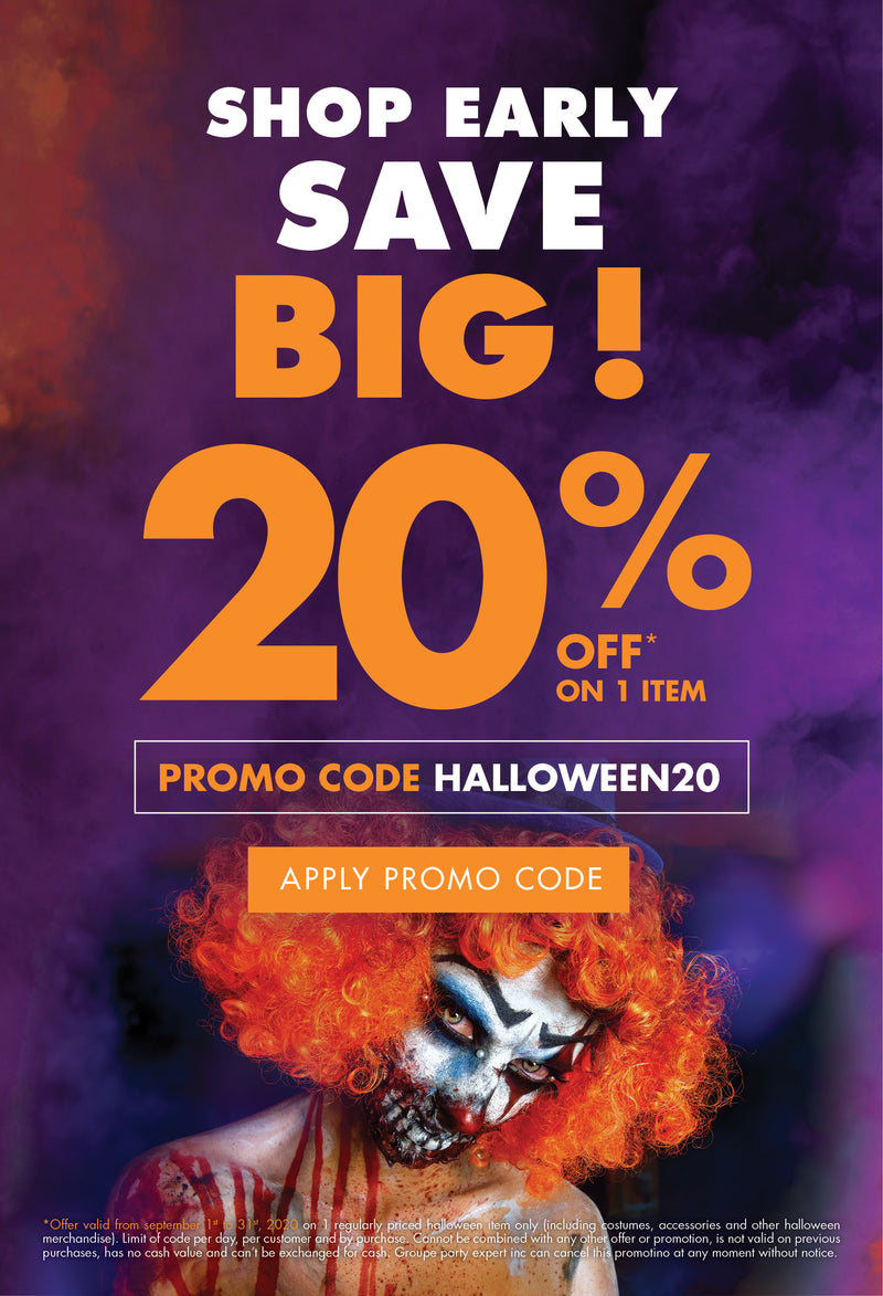 Shop early and save big with our 20% off one costume or Halloween item