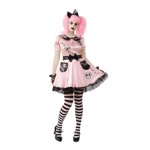 Pink Skelly Doll Costume for Women