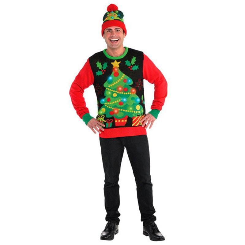 Ugly Sweater With Lights - Tree - Adult S/M