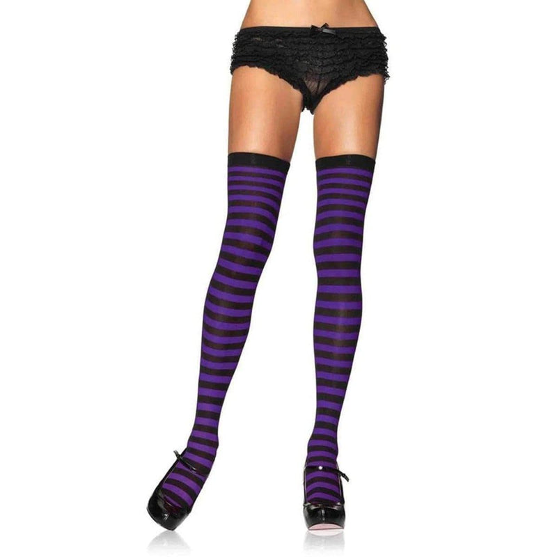 One pair of nylon black and purple striped tigh high socks for women