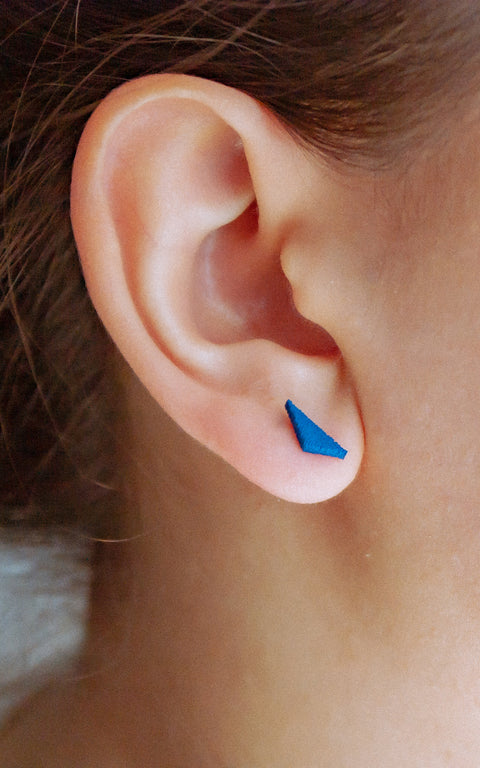 PUZZLE: 3D Tiny minimal Stud, Triangle Earrings, Everyday small earrings, Gift for her