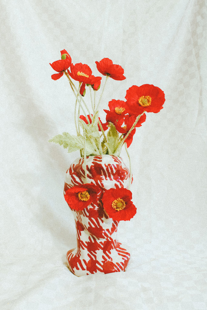 David Deux Fois Vase - Red Gingham