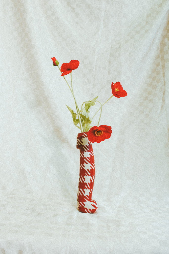 Nine Inch Vase - Red Gingham