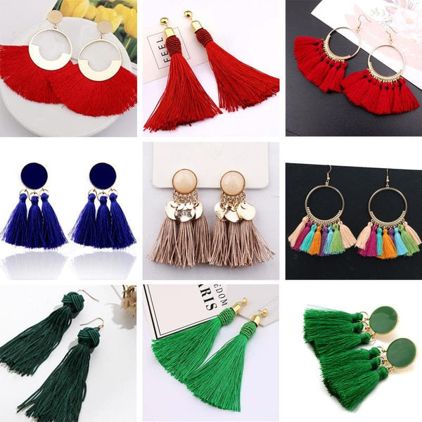 Bohemian Vintage Tassel Earrings For Women Wedding Party Colorful Statement - CARNIVALEYES.COM