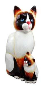 Balinese Wood Handicrafts Adorable Blue Eyed Feline Cat & Kitten Family Figurine