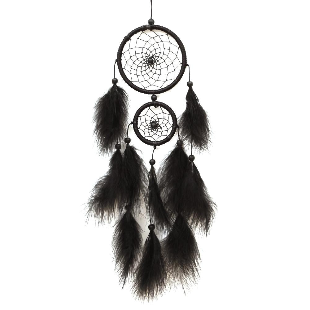 Black Feater Handmade Dream Catcher Car Wall hanging Crafts Gift