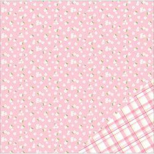 "American Crafts Basics Double-Sided Cardstock 12""X12""-Light Pink W/White Flower"