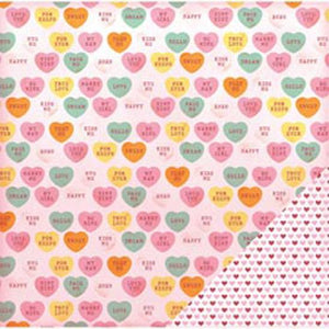 "American Crafts Valentine Double-Sided Cardstock 12""X12""-Candy Hearts"