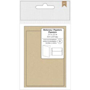 "American Crafts Cards & Envelopes 2.5""X3.5"" 8/Pkg-Kraft"