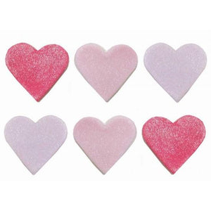 Anniversary House - 6 Pink Shimmer Hearts Sugarcraft Toppers