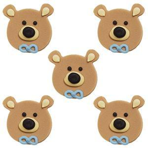 Anniversary House -5 Teddy Bear Heads Sugarcraft Toppers Blue