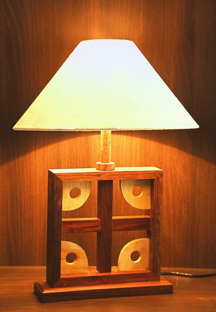Artistic Square Wooden Table Lamp