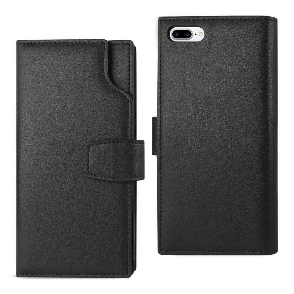 AMZER Handcrafted Genuine Leather RFID Credit Card Holder Wallet Case for iPhone 7 Plus - Black