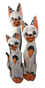 "Balinese Wood Handicraft Polka Orange Feline Cat Family Set of 3 Figurines 20""H"